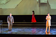 Karen Chila-Ling Ho as Violetta and Robert Kerr as Giorgio Germont in Verdi'a La Traviata in the Philharmonia Orchestra's production at the Rose Theater at Jazz at Lincoln Center.