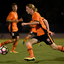 BRISBANE, AUSTRALIA - DECEMBER 22: Kye Rowles of the Roar dribbles the ball during the round 4 Foxtel National Youth League match between the Brisbane Roar and Melbourne City at AJ Kelly Field on December 22, 2016 in Brisbane, Australia. (Photo by Patrick Kearney/Brisbane Roar)
