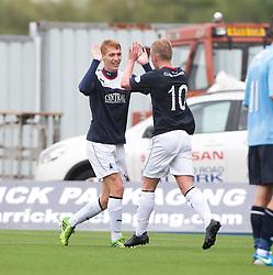 Falkirk's Jay Fulton cele scoring the second goal<br /> Falkirk 3 v 1 Dundee, 21/9/2013.<br /> ©Michael Schofield.