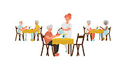 Seniors Eating in a Dining Room