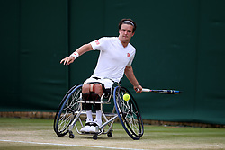 Gordon Reid in action during the Gentlemen's Wheelchair Singles on day ten of the Wimbledon Championships at The All England Lawn Tennis and Croquet Club, Wimbledon.