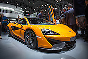 New York, NY - 1 April 2015. British carmaker McLaren unveiled its entry-level 570S mid-engine sportscar at the New York International Auto Show. Boasting 562hp, the car seems to look to comete with the Porsche 911 S Turbo.