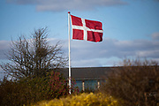 Private homes fly the national flag celebrating the Danish Queens birthday on April 16th 2020 in Ega, Denmark. Many Danish homes have their own flag pole and will fly the National flag on days of celebration.