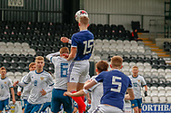 Jamie Hamilton (Hamilton Academical) rises above the crowd to head the ball towards goal during the U17 European Championships match between Scotland and Russia at Simple Digital Arena, Paisley, Scotland on 23 March 2019.