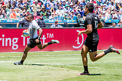 July 22, 2018 - San Francisco, CA, U.S. - SAN FRANCISCO, CA - JULY 22: Fiji's Alasil Sovita Naduva scores a try during the semifinal match between New Zealand and Fiji at the Rugby World Cup Sevens on July 22, 2018 at AT&T Park in San Francisco, CA. (Photo by Bob Kupbens/Icon Sportswire) (Credit Image: © Bob Kupbens/Icon SMI via ZUMA Press)