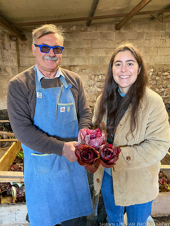 Caterina Romanelli and her father  holding their Rosa di Isontina