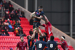 Luke Crosbie of Edinburgh claims the lineout<br /> <br /> Photographer Craig Thomas/Replay Images<br /> <br /> Guinness PRO14 Round 11 - Scarlets v Edinburgh - Saturday 15th February 2020 - Parc y Scarlets - Llanelli<br /> <br /> World Copyright © Replay Images . All rights reserved. info@replayimages.co.uk - http://replayimages.co.uk