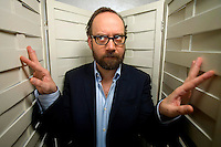 Actor Paul Giamatti poses for a portrait in the HBO building in New York, U.S. 2/1/08. Photographer: Robert Caplin For The LA TImes