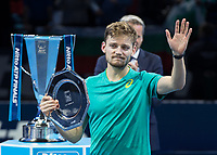 Tennis - 2017 Nitto ATP Finals at The O2 - Day Eight<br /> <br /> Final : Grigor Dimitrov (Bulgaria) Vs David Goffin (Belguim) <br /> <br /> An emotional close to tears David Goffin (Belguim) with the runners up plate at the O2 Arena <br /> <br /> COLORSPORT/DANIEL BEARHAM