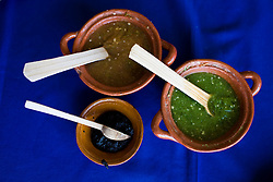 The three chile sauces that are offered to diners at El Bajio, a well known restaurant in Mexico City for traditional mexican cuisine.