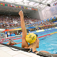 Stephanie RICE of Australia celebrates a new World Record after touching first in the Women's 200m Individual Medley (IM) Final held at the National Aquatics Center at the Beijing 2008 Olympic Games in Beijing, China, Wednesday, Aug. 13, 2008. (Photo by Patrick B. Kraemer / MAGICPBK)