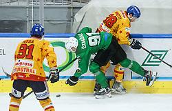 Cimzar Tadej of HK SZ Olimpija vs Ginnetti Cameron of Asiago during first leg Ice Hockey game between HK SZ Olimpija Ljubljana and Asiago Hockey in Final of Alps Hockey League 2020/21, on April 20, 2021 in Hala Tivoli, Ljubljana, Slovenia. Photo by Vid Ponikvar / Sportida