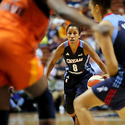 UNCASVILLE, CONNECTICUT- JUNE 3:   Carla Cortijo #8 of the Atlanta Dream in action during the Atlanta Dream Vs Connecticut Sun, WNBA regular season game at Mohegan Sun Arena on June 3, 2016 in Uncasville, Connecticut. (Photo by Tim Clayton/Corbis via Getty Images)