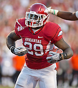 Arkansas running back Broderick Green (29) reacts to a touchdown during an NCAA college football game against Auburn on Saturday, Oct. 8, 2011, in Fayetteville, Ark. (AP Photo/Beth Hall)