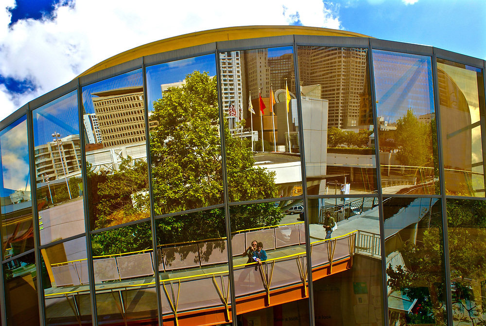 San Francisco downtown reflections on round glass building, CA