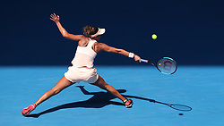 MELBOURNE, Jan. 24, 2018  Madison Keys of the United States hits a return during the women's singles quarterfinal against Angelique Kerber of Germany at Australian Open 2018 in Melbourne, Australia, Jan. 24, 2018. Kerber won 2-0. (Credit Image: © Bai Xuefei/Xinhua via ZUMA Wire)