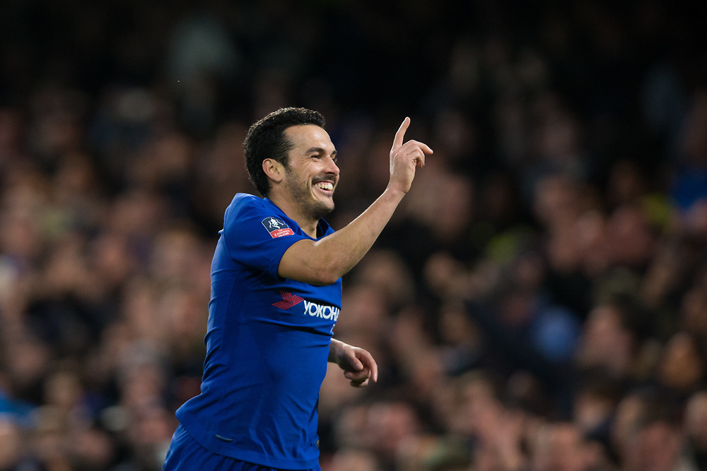 Chelsea's Pedro celebrates scoring his side's second goal <br /> <br /> Photographer Craig Mercer/CameraSport<br /> <br /> Emirates FA Cup Fifth Round - Chelsea v Hull City - Friday 16th February 2018 - Stamford Bridge - London<br />  <br /> World Copyright © 2018 CameraSport. All rights reserved. 43 Linden Ave. Countesthorpe. Leicester. England. LE8 5PG - Tel: +44 (0) 116 277 4147 - admin@camerasport.com - www.camerasport.com