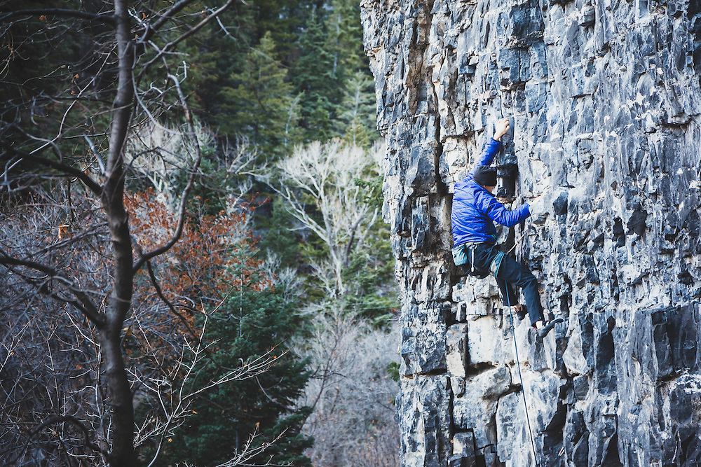 Paul Shilton climbs Quicklime Girl, 5.11a, American Fork Canyon.