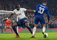 Football - 2018 / 2019 EFL Carabao Cup (League Cup) - Semi-Final, Second Leg: Chelsea (0) vs. Tottenham Hotspur (1)<br /> <br /> Moussa Sissoko (Tottenham FC)  gives the slightest of touches on Emerson (Chelsea FC) as he goes over looking for the penalty at Stamford Bridge <br /> <br /> COLORSPORT/DANIEL BEARHAM