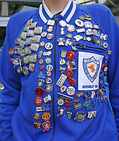 Football - 2021 / 2022 Premier League - Brighton & Hove Albion vs Leicester City - Amex Stadium - Sunday 19th September 2021<br /> <br /> A Leicester City fan with pin badges for games and clubs he's visited following his team around<br /> <br /> COLORSPORT/Shaun Boggust