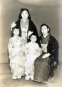 women with children portrait  vintage Japan