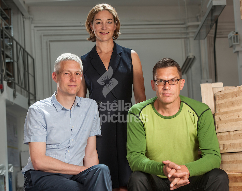 Picture by Daniel Hambury/Stella Pictures Ltd +44 7813 022858<br /> 14/06/2013<br /> L-R<br /> Philip Marsh, Sadie Morgan and Alex de Rijke of DRMM at their London offices.