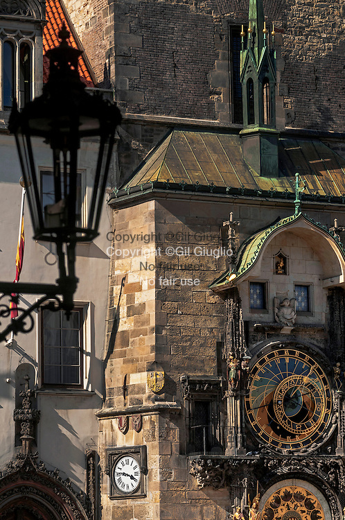 Czech Republic, Prague, Stare Mersto,  Praha 1,  clock of Town Hall building  on Staromestske Namesty place