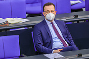 German Minister of Health Jens Spahnl attends a Bundestag session dealing with the coronavirus vaccination operation in Germnay at the Bundestag in Berlin, Germany, January 13, 2021.