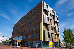 Cardiff, UK. 2nd May, 2017. The rectangular Gloworks building by Ash Sakula Architects comprises six floors of office and studio space. Alongside the BBC's Roath Lock Studios, it forms part of a cluster of buildings for creatives which are intended to regenerate Porth Teigr.