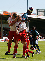 Photo: Steve Bond.<br />Walsall v Swansea City. Coca Cola League 1. 25/08/2007. Dennis Lawrence causes problems in the Walsall penalty area