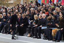 Emmanuel Macron touches the knees of Angela Merkel.<br /> Emmanuel Macron, Prime Minister of Israel, Benyamin Netanyahou and his wife, Prime Minister of Canada Justin Trudeau, Morocco's King Mohammed VI and his son, first lady Melania Trump, U.S. President Donald Trump, German Chancellor Angela Merkel and Brigitte Macron, Vladimir Putin and Australian Governor-General Peter Cosgrove.<br /> French President Emmanuel Macron and Brigitte Macron, German Chancellor Angela Merkel, U.S. President Donald Trump, first lady Melania Trump, Morocco's King Mohammed VI, Russian President Vladimir Putin, Australian Governor-General Peter Cosgrove attend a commemoration ceremony for Armistice Day, 100 years after the end of the First World War at the Arc de Triomphe.<br /> Paris,FRANCE-11/11/2018 Photo by Jacques Witt/pool/ABACAPRESS.COM