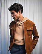 A model poses backstage during the Matiere Collection presentation during New York Men's Fashion Week at Skylight Clarkson North on February 1, 2017 in New York City.