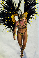 Samba dancer in the Carnaval parade of Inocentes de Belford Roxo samba school in the Sambadrome, Rio de Janeiro, Brazil.