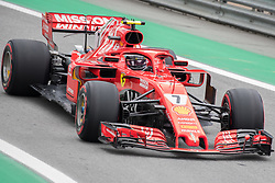 November 10, 2018 - Sao Paulo, Sao Paulo, Brazil - KIMI RAIKKONEN, of Scuderia Ferrari, during the free practice session for the Formula One Grand Prix of Brazil at Interlagos circuit, in Sao Paulo, Brazil. The grand prix will be celebrated next Sunday, November 11. (Credit Image: © Paulo LopesZUMA Wire)