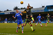 Gillingham FC forward Tom Eaves (9) and Bristol Rovers defender Tom Lockyer(4) during the EFL Sky Bet League 1 match between Gillingham and Bristol Rovers at the MEMS Priestfield Stadium, Gillingham, England on 16 December 2017. Photo by Martin Cole.