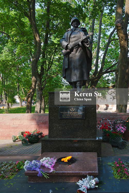 Statue of a Soviet era soldier at a WWII memorial, Nesvizh, Minsk Province, Belarus