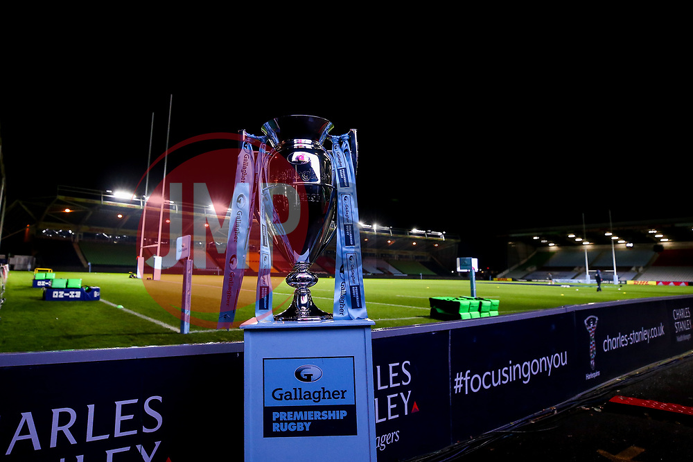 The Gallagher Premiership Trophy stands on a plinth at The Twickenham Stoop home to Harlequins ahead of the first game of the 2020/21 Gallagher Premiership season between Harlequins and Exeter Chiefs - Mandatory by-line: Robbie Stephenson/JMP - 20/11/2020 - RUGBY - Twickenham Stoop - London, England - Harlequins v Exeter Chiefs - Gallagher Premiership Rugby