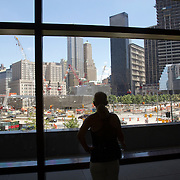 Viewing the site where the 9/11 Memorial and new buildings will be located in New York where the former Twin Towers of the World Trade Center once stood.