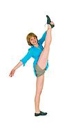 flexible Female acrobat balances on one leg On white Background
