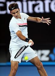 MELBOURNE, Jan. 28, 2018  Switzerland's Roger Federer competes during the men's singles final match against Croatia's Marin Cilic at Australian Open 2018 in Melbourne, Australia, Jan. 28, 2018. (Credit Image: © Li Peng/Xinhua via ZUMA Wire)