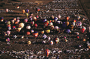 Aerial photograph of the Albuquerque Hot Air Balloon festival, the world's largest an annual event hot air balloon event. New Mexico.