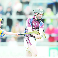 10 February 2008; Galway's Aongus Callanan evades the challenge of Clare's Tadgh Keogh to score his side's first goal. Allianz National Hurling League, Division 1B, Round 1, Galway v Clare, Pearse Stadium, Galway. Picture credit; David Maher / SPORTSFILE