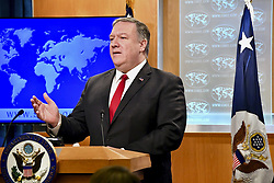 March 26, 2019 - Washington, DC, United States of America - U.S. Secretary of State Mike Pompeo holds a press briefing at the State Department March 26, 2019 in Washington, D.C. (Credit Image: © Michael Gross via ZUMA Wire)