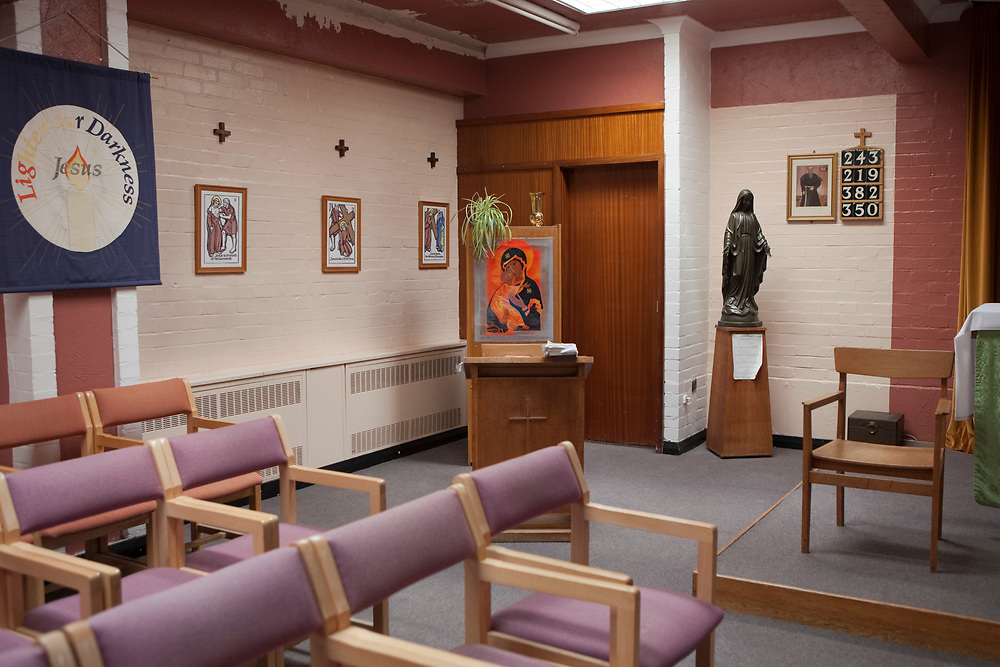 The prison chapel at HMP Kingston, Portsmouth, United Kingdom. This chapel is available to all prisoners to pray, whatever religion. Kingston prison is a category C prison holding indeterminate sentenced prisoners.