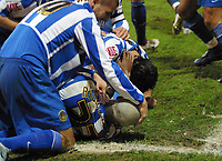 Photo: Paul Thomas.<br /> Chester City v Nottingham Forest. The FA Cup.<br /> 03/12/2005.<br /> <br /> Chester celebrate Marcus Richardson's goal by rubbing line paint on his head.