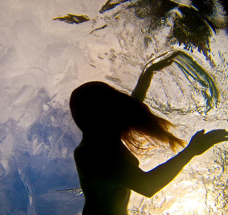 Underwater self portrait series, back yard pool, Houston, Texas