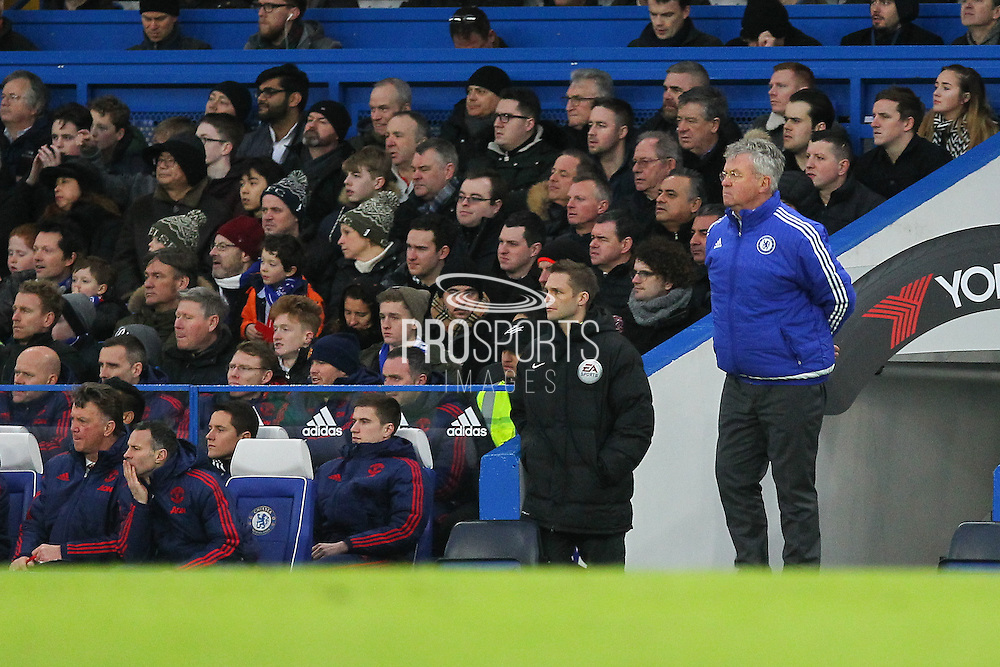Chelsea Manager Guus Hiddink looks on during the Barclays Premier League match between Chelsea and Manchester United at Stamford Bridge, London, England on 7 February 2016. Photo by Phil Duncan.