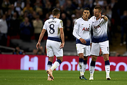 October 3, 2018 - London, England, United Kingdom - Erik Lamela of Tottenham celebrates after scoring his sides first goal whit Harry Winks and Eric Dier during the Group B match of the UEFA Champions League between Tottenham Hotspurs and FC Barcelona at Wembley Stadium on October 03, 2018 in London, England. (Credit Image: © Jose Breton/NurPhoto/ZUMA Press)