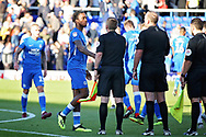 Peterborough United forward Ivan Toney (17) shakes hands with the ref after the EFL Sky Bet League 1 match between Peterborough United and Blackpool at The Abax Stadium, Peterborough, England on 29 September 2018.