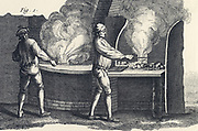 Blowing glass goblets: Inspecting melt and gathering molten glass from the furnace.  From Diderot 'Encyclopedie' c1751.
